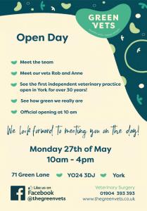Green Vets York Open Day Flyer